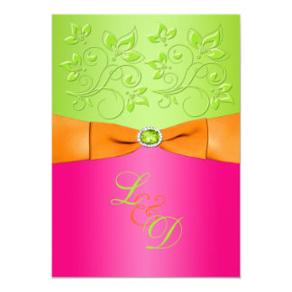 Pink, Orange, Green Monogram Wedding Invitation