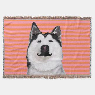 Pink & Orange Husky Throw Blanket