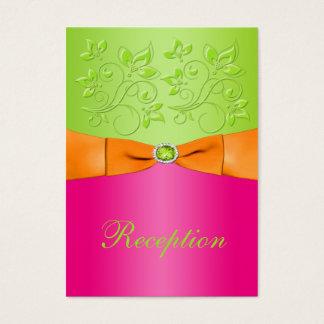 Pink, Orange, Lime Floral Wedding Enclosure Card