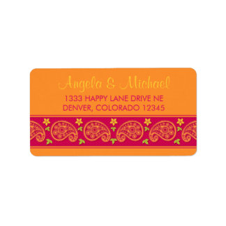 Pink Orange Paisley Floral Return Address Labels