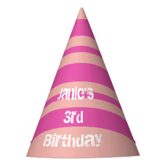 Pink & Orange Personalized Birthday Party Hats