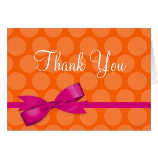 Pink Orange Polka Dot Printed Bow Thank You Card