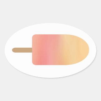 Pink Orange Popsicle Summer Frozen Treat Oval Sticker