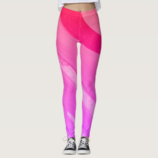 Pink Orange Poured-Paint Abstract - Leggings