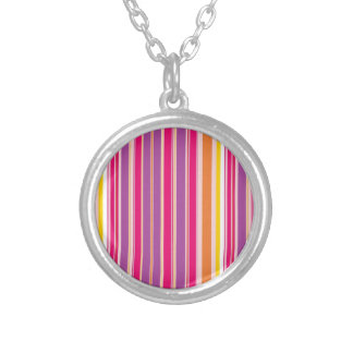 Pink Orange Purple Colorful Girly Stripe Pattern Round Pendant Necklace