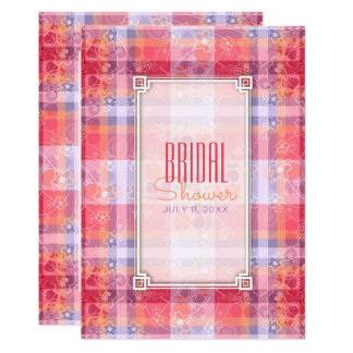Pink Orange  Purple Plaid Pattern Bridal Shower Card