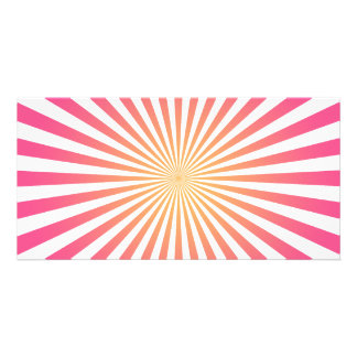 Pink & Orange Radial Lines: Custom Template Customised Photo Card