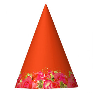Pink & Orange Roses Party Hat