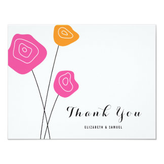 Pink Orange Roses White Wedding Thank You Card