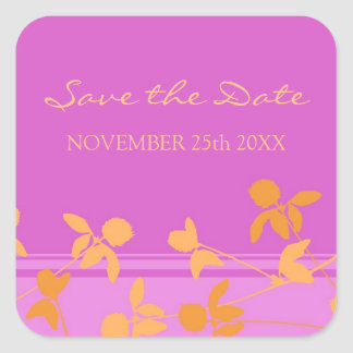 Pink Orange Save the Date Envelope Seal Square Stickers