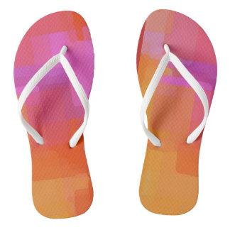 Pink Orange Squares Flip Flops Thongs
