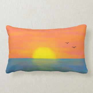 Pink & Orange Sunset w/ Blue Reflective Sea/Ocean Lumbar Pillow