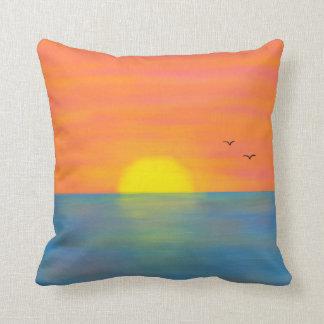 Pink & Orange Sunset w/ Blue Reflective Sea/Ocean Throw Pillow