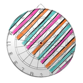 Pink Orange Teal Watercolor Stripes and Sketch Dartboard With Darts