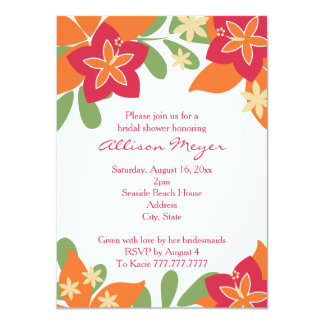 Pink Orange Tropical Hibiscus Flower Bridal Shower 4.5x6.25 Paper Invitation Card
