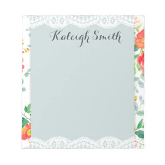 Pink Orange Watercolor Floral and Lace Notepad