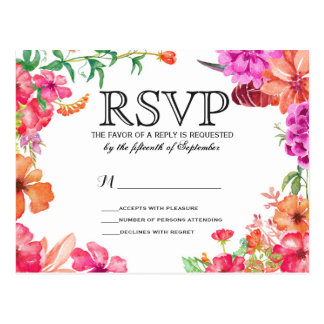 Pink Orange Watercolor Garden RSVP Postcards