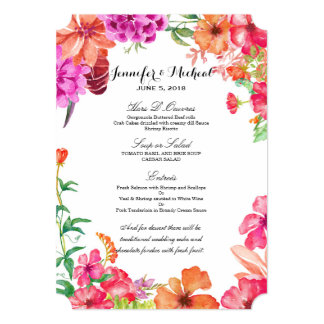Pink Orange Watercolor Garden Wedding Menu Card