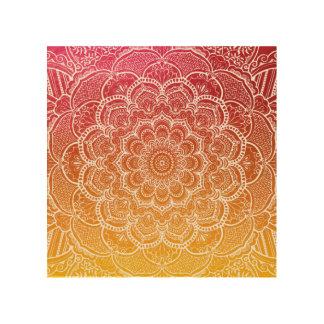 Pink Orange Watercolor Mandala Wood Wall Decor