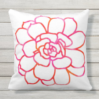 Pink Orange Watercolor Succulent Outdoor Cushion
