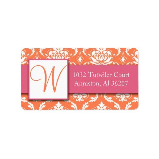 Pink Orange White Damask Initial Address Labels