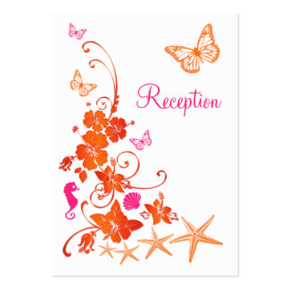 Pink, Orange, White Tropical Beach Enclosure Card Business Card