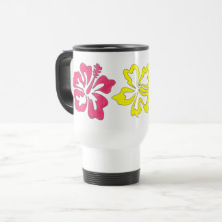 Pink Orange Yellow Tropical Hibiscus Flower Floral Travel Mug