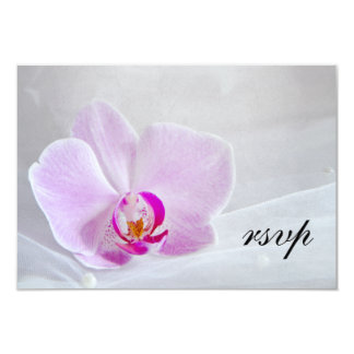 Pink Orchid and Bridal Veil Wedding RSVP Card