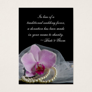 Pink Orchid and Pearls Wedding Charity Favor Card