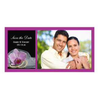 Pink Orchid and Pearls Wedding Save the Date Photo Card
