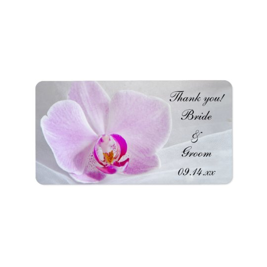 Pink Orchid and Veil Wedding Thank You Favour Tags