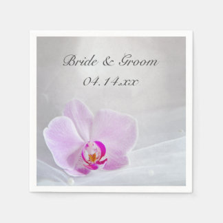 Pink Orchid and White Bridal Veil Wedding Disposable Napkin