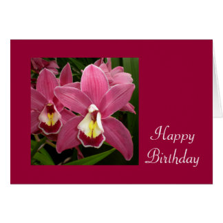 Pink Orchid Birthday Card
