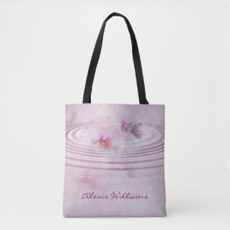 pink orchid blossoms with butterfly tote bag