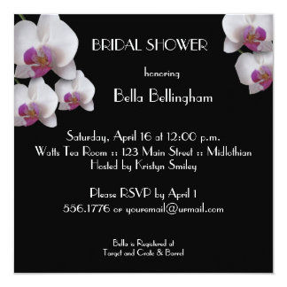 Pink Orchid Bridal Shower Invitation