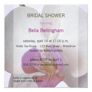 "Pink Orchid Bridal Shower Invitation 5.25"" Square Invitation Card"
