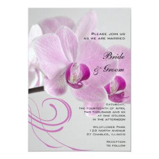 Pink Orchid Elegance Wedding 13 Cm X 18 Cm Invitation Card