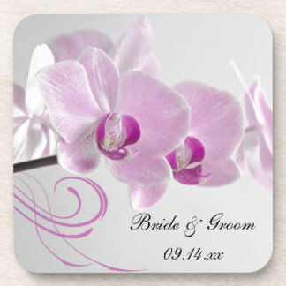 Pink Orchid Elegance Wedding Beverage Coaster