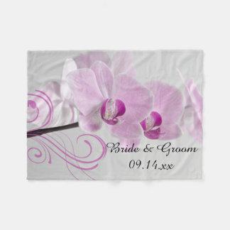Pink Orchid Elegance Wedding Fleece Blanket