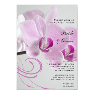Pink Orchid Elegance Wedding Invitation