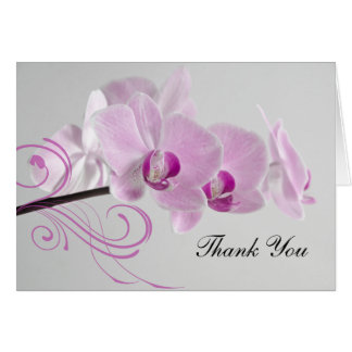Pink Orchid Elegance Wedding Thank You Card
