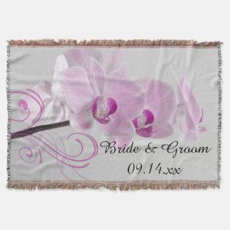Pink Orchid Elegance Wedding Throw