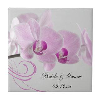 Pink Orchid Elegance Wedding Tile