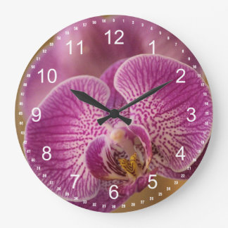 Pink Orchid Flower Large Clock