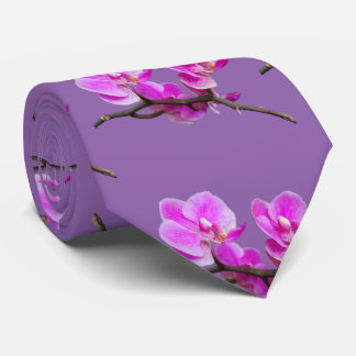 Pink Orchid Flowers Tie