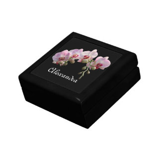 pink orchid flowers with name treasure box. small square gift box