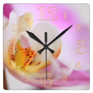 Pink Orchid Macro Wall Clock