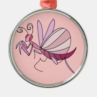 Pink Orchid Mantis Metal Ornament