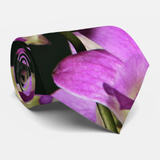 Pink Orchid On A Black Background Tie