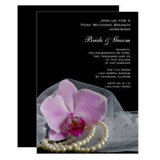 Pink Orchid Pearls on Black Post Wedding Brunch Card